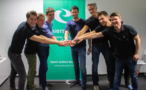 v.l.n.r.: Philipp Braunsberger (CFO Eversports), Emanuel Steininger (VP of Engineering Eversports), Vincent van den Tol (CPO Fitmanager), Maarten Borgers (CEO Fitmanager), Hanno Lippitsch (CEO Eversports), Stefan Feirer (CPO), Thomas Fritz (CTO)