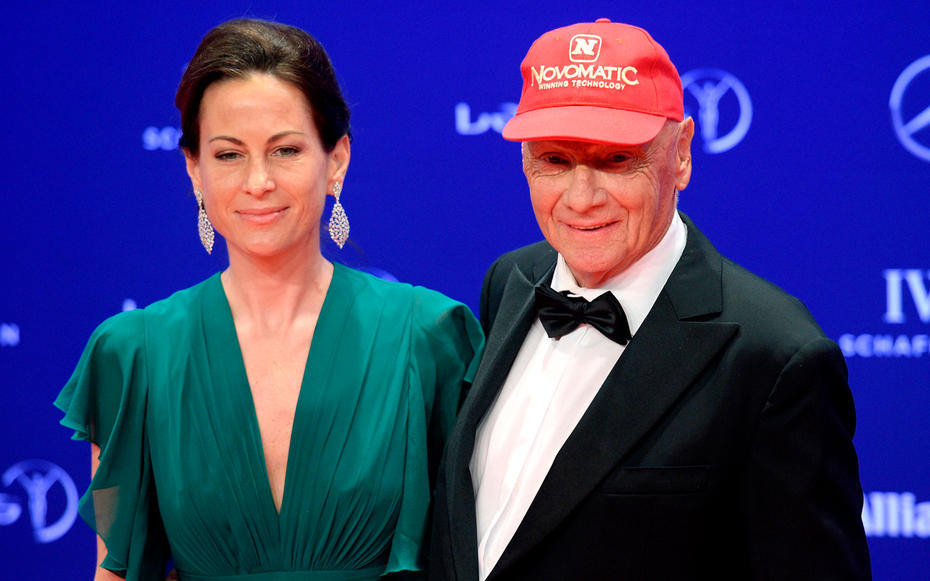 Niki Lauda mit Gattin Birgit beim Laureus Sports Award im April 2016