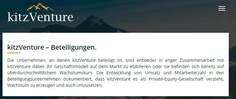 """kitzVenture über die """"Beteiligungen"""""""