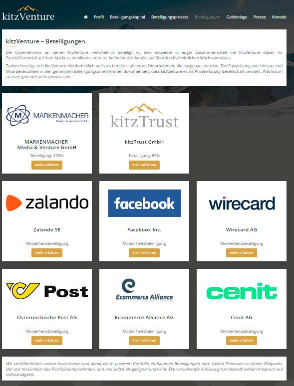 Beteiligungen von kitzVenture.com, Screenshot der Website vom 16.01.2017