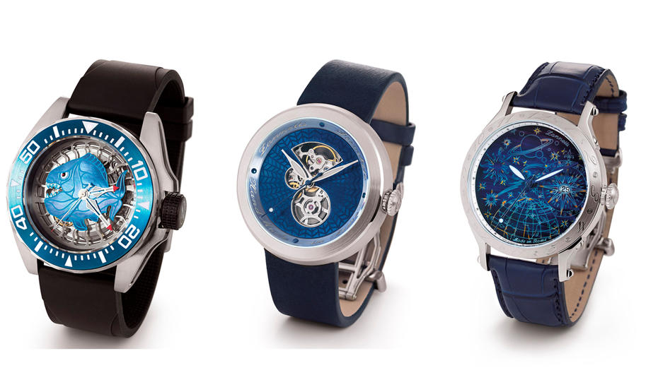 Baselworld 17 Neuheiten von Zannetti: Scuba Art Piranha Mid-Size Blue Edition, Discobolo steel 2017, Full Sky Blue Edition 2017 (von links)